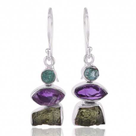 Apatite Rogh Moldavite Rough and Amethyst Rough Gemstone Silver Earring Trendy Jewelry