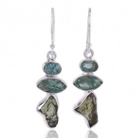 Moldavite and Apatite Rough Stone 925 Silver Handmade Earring