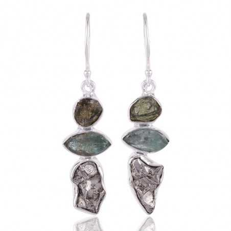 Meteorite Apatite Rough and Moldavite Rough Silver Earring for Women