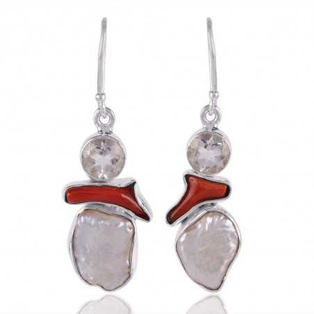Coral Stick Crystal and Bqroque Pearl Silver Dangle Earrings