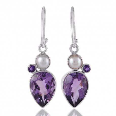 Amethyst and White Pearl 925 Silver Tear Drop Earring