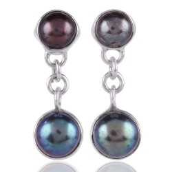 Color Pearl and 925 Silver Dangle Earrings for Girls