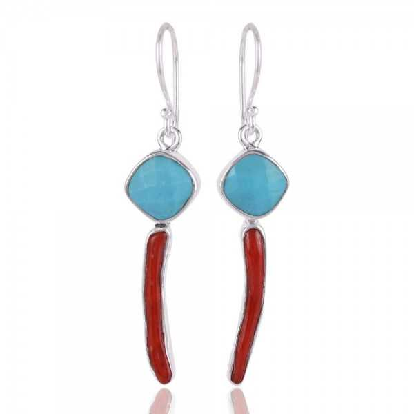 Coral Stick and Arizona Turquoise 925 Silver Dangle Earring