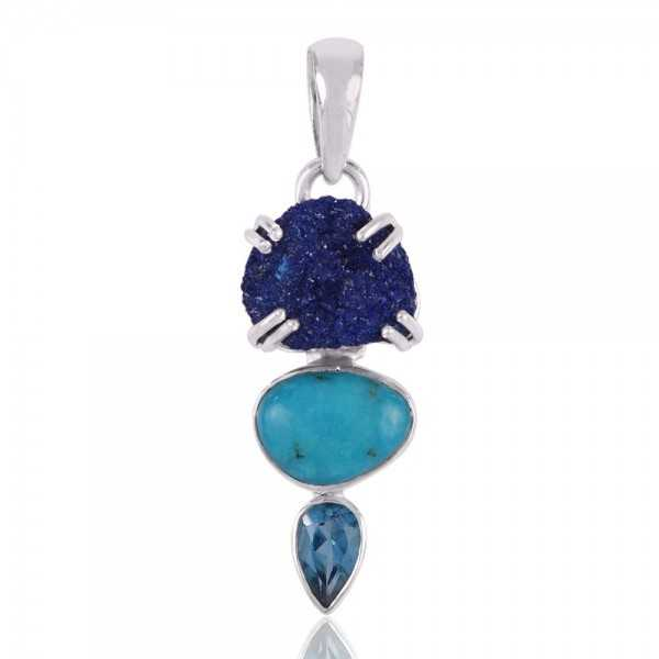 Azurite Druzy Swiss Blue Topaz and American Turquoise Sterling Silver Pendant Necklace