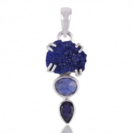 Tanzanite Iolite and Azurite Druzy Blue Gemstone Pendant Necklace Sterling Silver