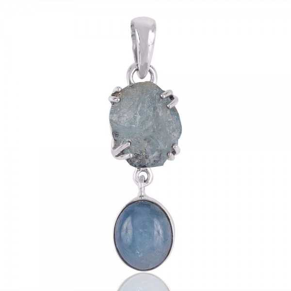 Aquamarine and Sterling Silver Two Stone Pendant Necklace