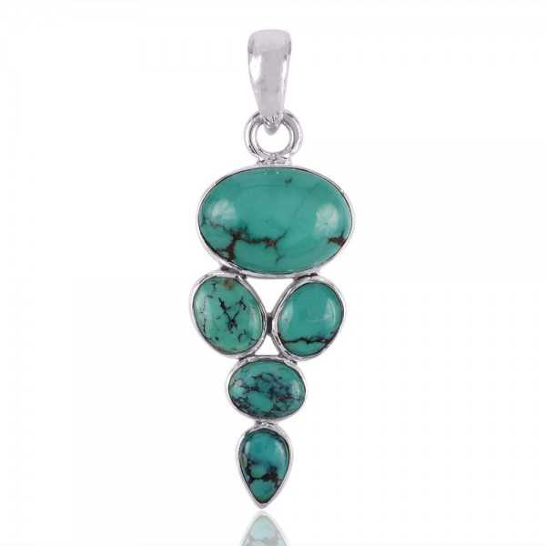 Natural Turquoise and Solid Silver Gemstone Pendant Necklace