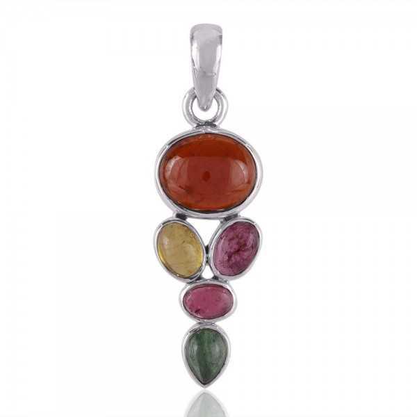 Multi Tourmaline Gemstone Pendant Sterling Silver Multi Color Pendant Necklace