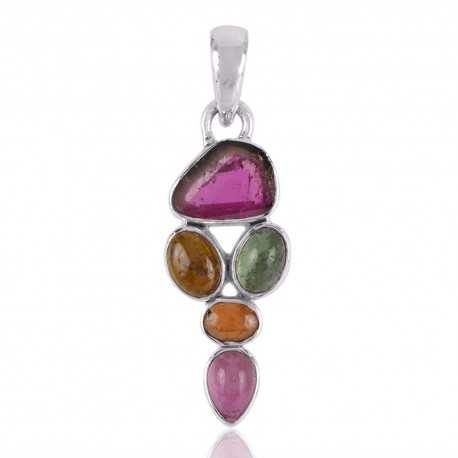Tourmaline Slice and Multi Color Tourmaline Silver Pendant Necklace