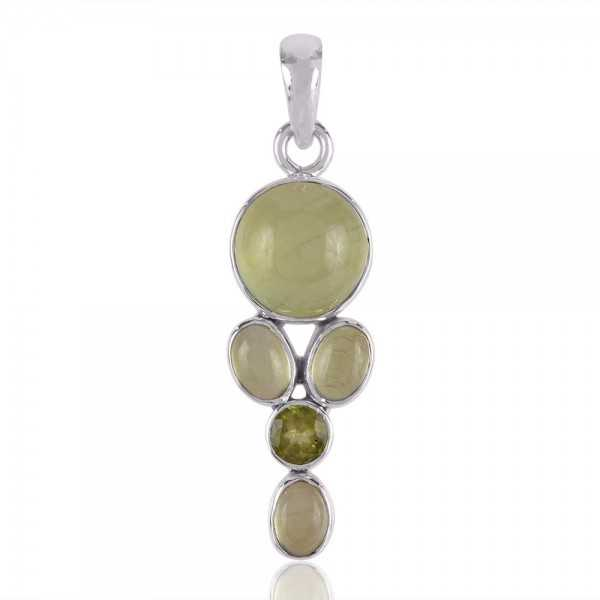Peridot and Prehnite Green Gemstone Pendant Solid 925 Silver Necklace