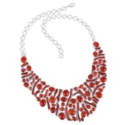 Natural Coral and Sterling Silver Bib Necklace Large Party Wear Necklace