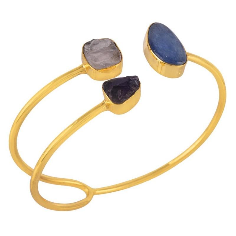 0ae3a8c72636a4 18K Gold Plated Amethyst and Rose Quartz Rough Kyanite Cuff Bracelet