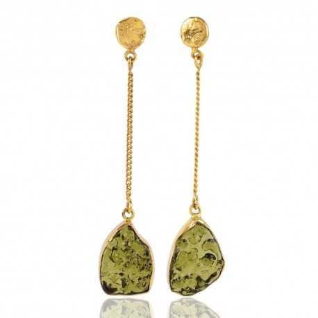 18K Gold Plated Moldavite Glass Drop Dangle Earring