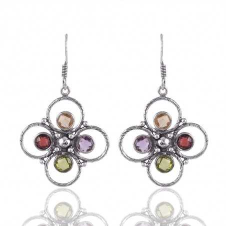 Multi Gemstone Citrine Garnet Amethyts Peridot Sterling Silver Handmade Earrings