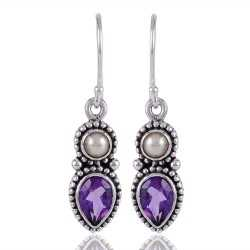 Pearl and Amethyst Solid Silver Designer Drop Dangle Earring
