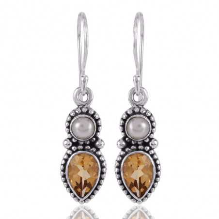 Pearl and Citrine Gemstone Drop Dangle Earring Sterling Silver