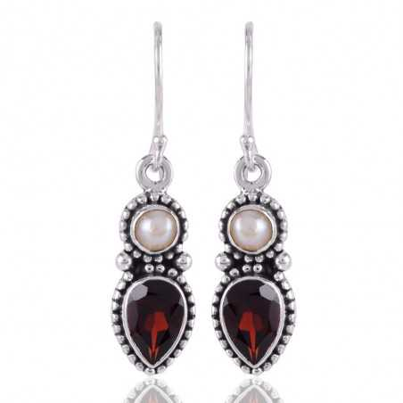 White Pearl and Garnet Silver gemstone Drop Dangle Earring
