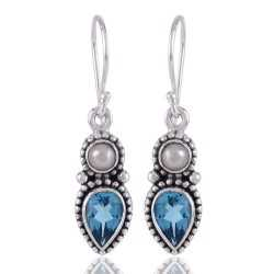 Blue Topaz BT and Pearl Blue Gemstone Earrings 925 Silver