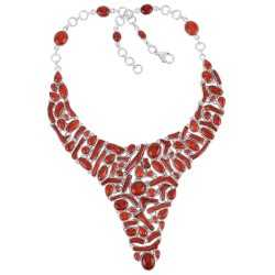 Genuine Coral and Solid Silver Bib Necklace Red Coral Large Choker Necklace