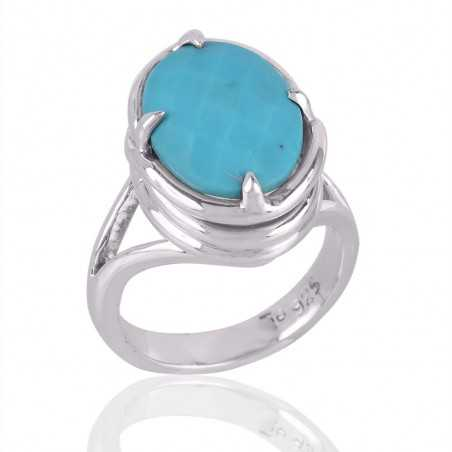 Arizona Turquoise Solid 925 Silver Mens Womens Ring