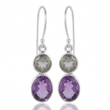 Amethyst and Prasiolite Solid Silver Earring