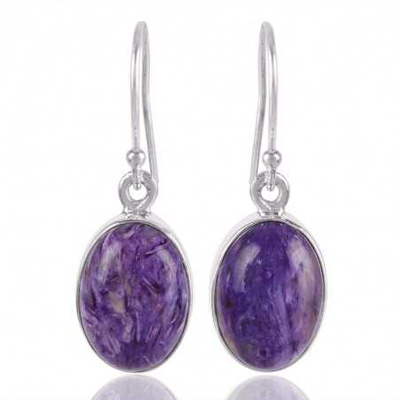 Charoite and Sterling Silver Simple Earring
