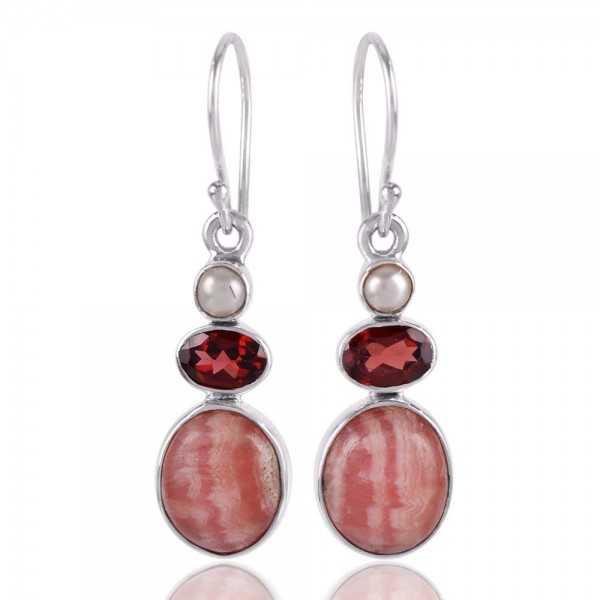 Rhodocrosite Pearl and Garnet 925 Silver Earring