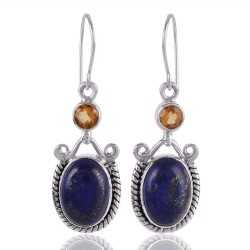 Lapis Lazuli and Citrine Drop Dangle Earring Sterling Silver Earring