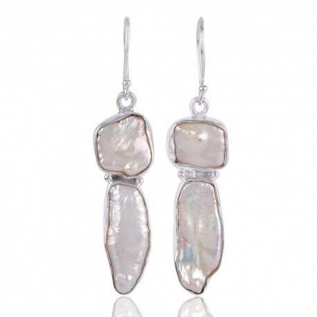 Biwa Pearl Gemstone Sterling Silver Drop & Dangle Earring