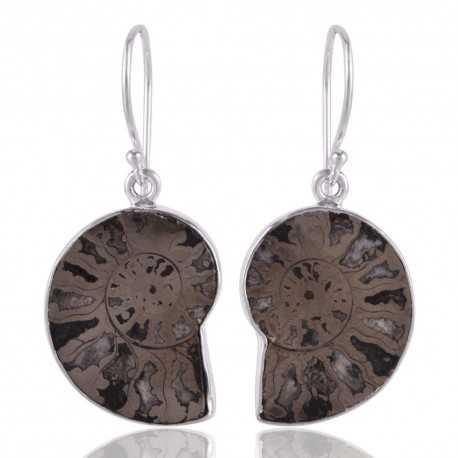 Natural Pyarite Ammonite Gemstone 925 Sterling Sliver Earring