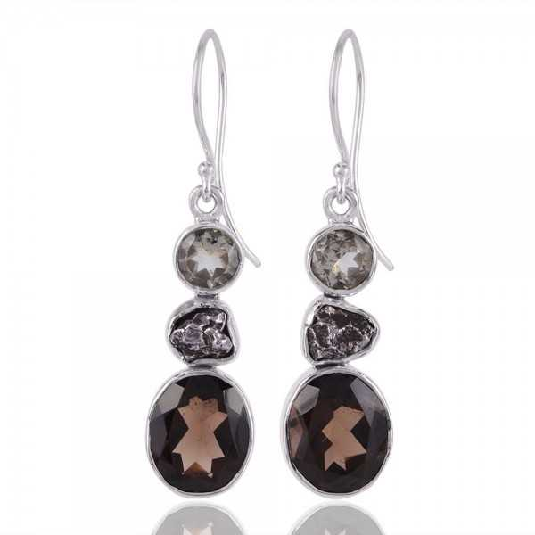 Smoky Quartz Meteorite and Prasiolite Sterling Silver Earring