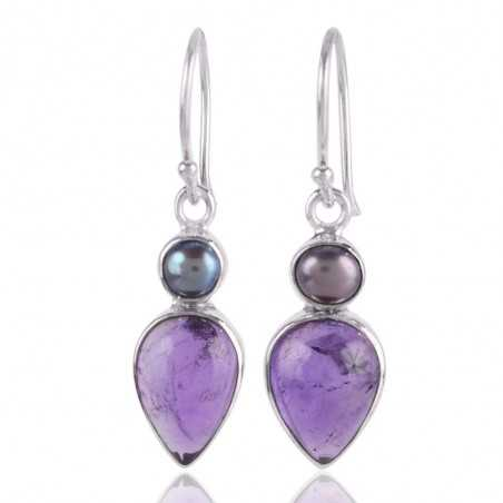 Amethyst Cab and Pearl Drop Dangle Earring Sterling Silver