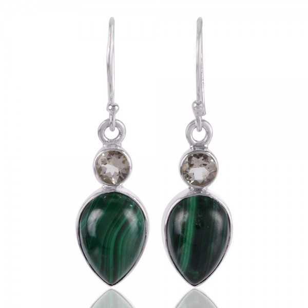 Malachite and Prasiolite Gemstone Drop Dangle Silver Earrings