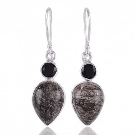 Rutilated Quartz Rutile and Black Onyx Silver Earring Black Stone Earrings