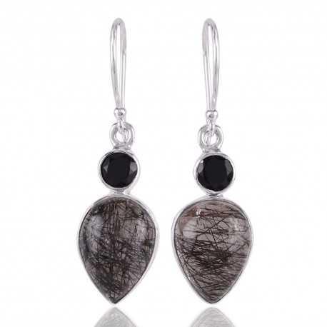 Rutilated Quartz Rutile and Black Onyx Silver Earring Black Stone Earrings
