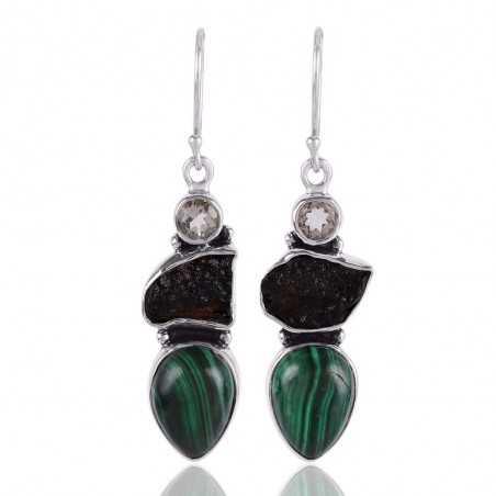 Moldavite Malachite and Prasiolite Silver Drop Dangle Earrings Green Stone Earrings