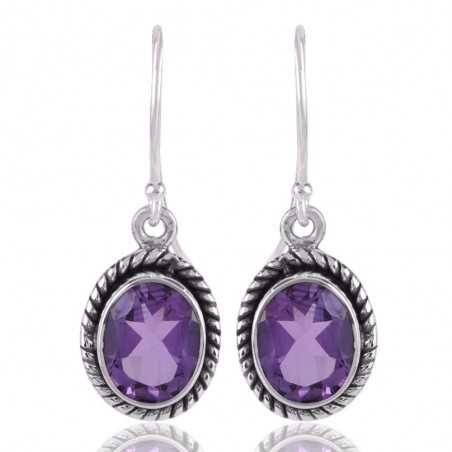 Amethyst and 925 Silver Designer Earring for Womens