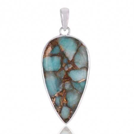 Amazonite Copper Turquoise and 925 Silver Gemstone Pendant Necklace