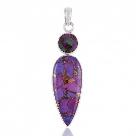 Mystic Topaz and Purple Copper Turquoise Silver Drop Pendant Necklace