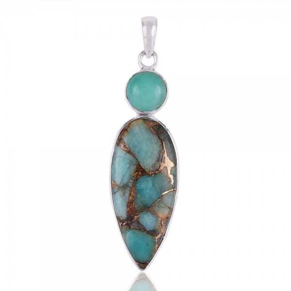 Amazonite and Amaznite Copper Turquoise Silver Drop Pendant