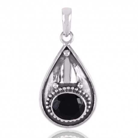 Black Onyx and Oxidized Silver Dangle Pendant Necklace