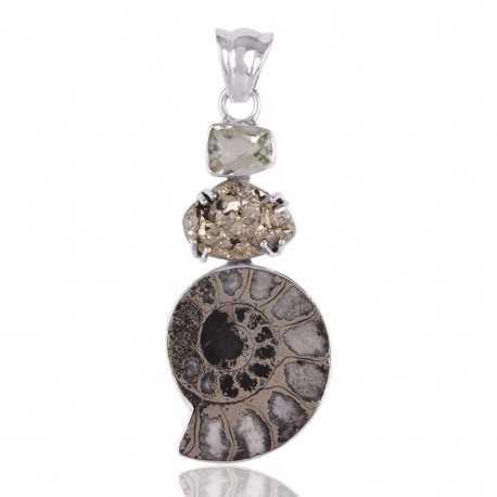 Pyrite Ammonite and Prasiolite Silver Artisan Pendant Locket