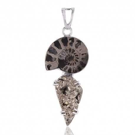 Sterling Silver and Pyrite Ammonite Drop Pendant Necklace