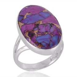 Purple Copper Turquoise Ring Silver and Purple Stone Ring