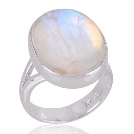 Rainbow Moonstone Ring Sterling Silver Ring