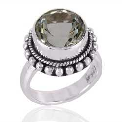 Green Amethyst AKA Prasiolite and Solid Silver Designer Ring