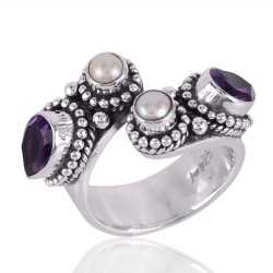 Amethyst and Pearl Designer Open Silver Ring for Girls
