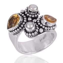 Citrine and Pearl 925 Silver Adjustable Ring for Womens