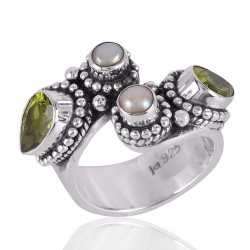 Peridot and Pearl Open Ring Sterling Silver Ring for Girls