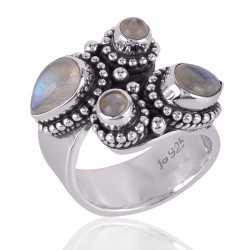 Rainbow Moonstone Silver Open Ring